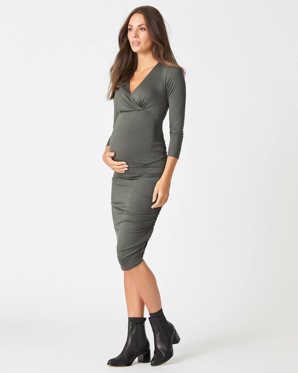 Pea in a Pod Maternity Jemma Crossover Dress Bodycon Dresses Khaki Jemma Crossover Dress