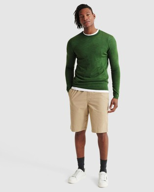Superdry Edit Merino Crew - Jumpers (Forest Khaki Marle)
