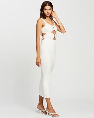 AERE Ring Detail Midi Dress - Bodycon Dresses (Ivory)