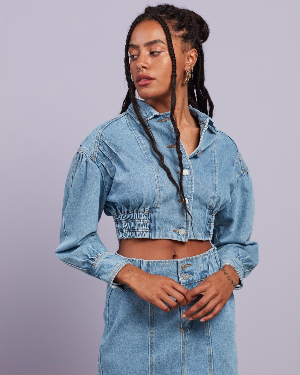 Missguided Shirred Waist Denim Jacket Co Ord jacket Light Blue Co-Ord Australia