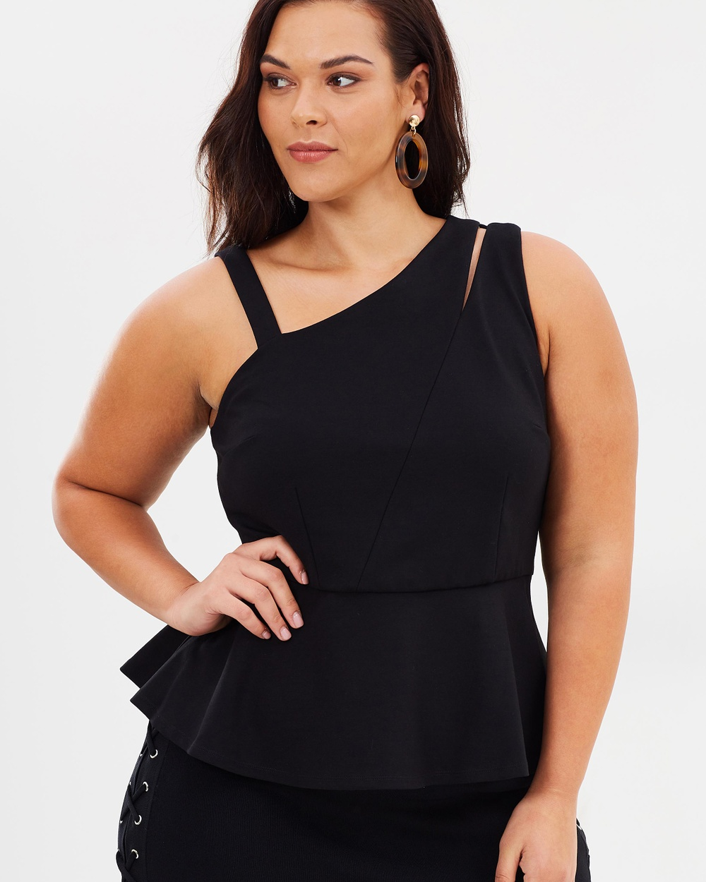 Rebel Wilson x Angels Asymmetrical Cut Top Tops Black Asymmetrical Cut Top