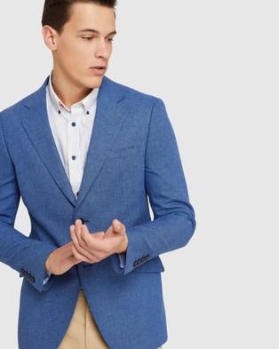 Oxford Blake Linen Blend Blazer - Blazers (Blue)