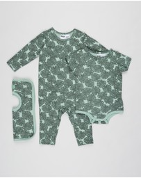 Cotton On Baby - Bundle LS Snap Romper, Bubbysuit & Square Bib - Babies