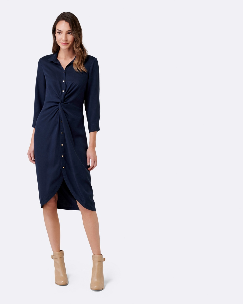 Forever New Freya Twist Front Shirt Dress Dresses Navy Freya Twist Front Shirt Dress