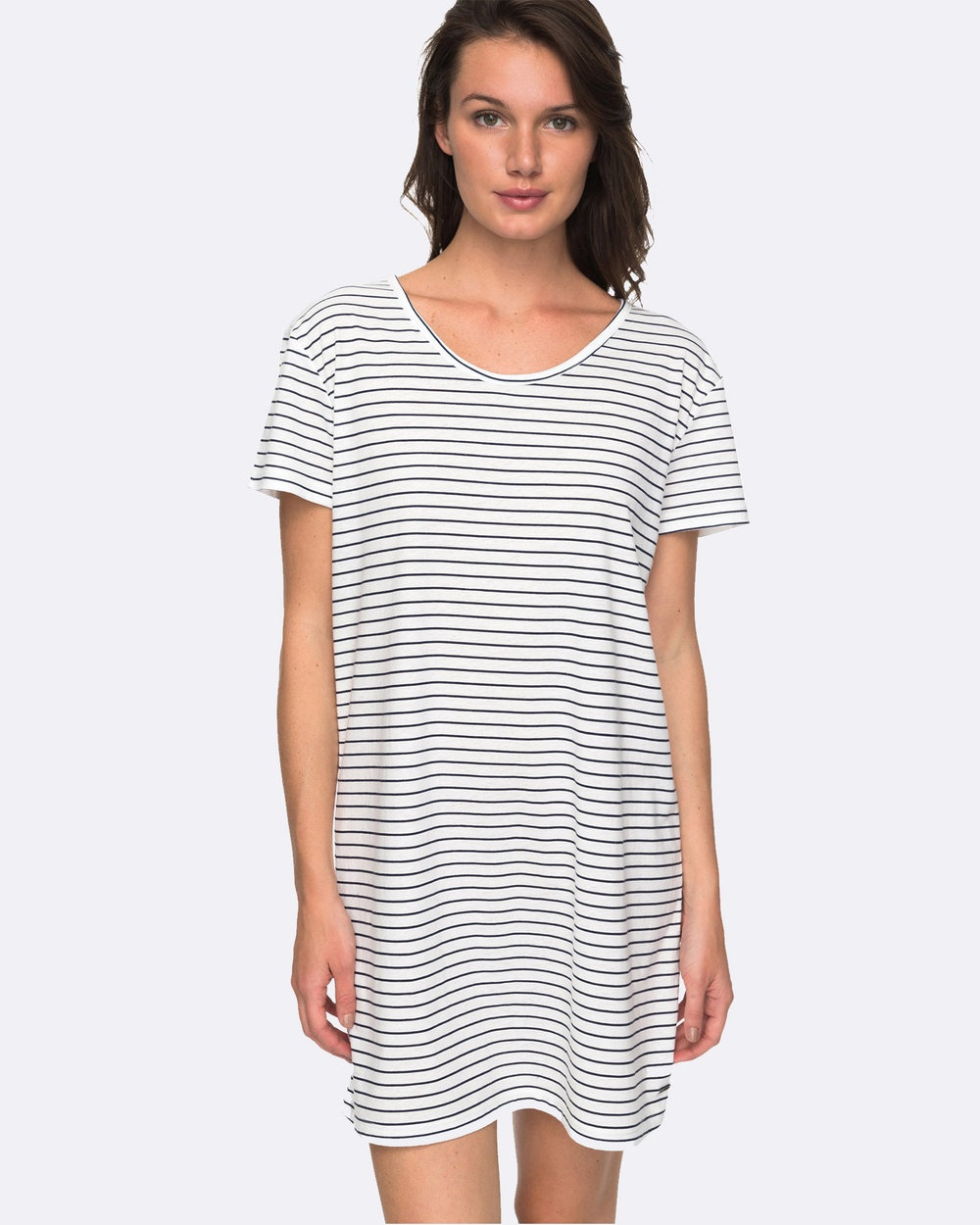 Roxy Womens Just Simple Striped T Shirt Dress Swimwear DRESS BLUE JUST SIMP Womens Just Simple Striped T Shirt Dress
