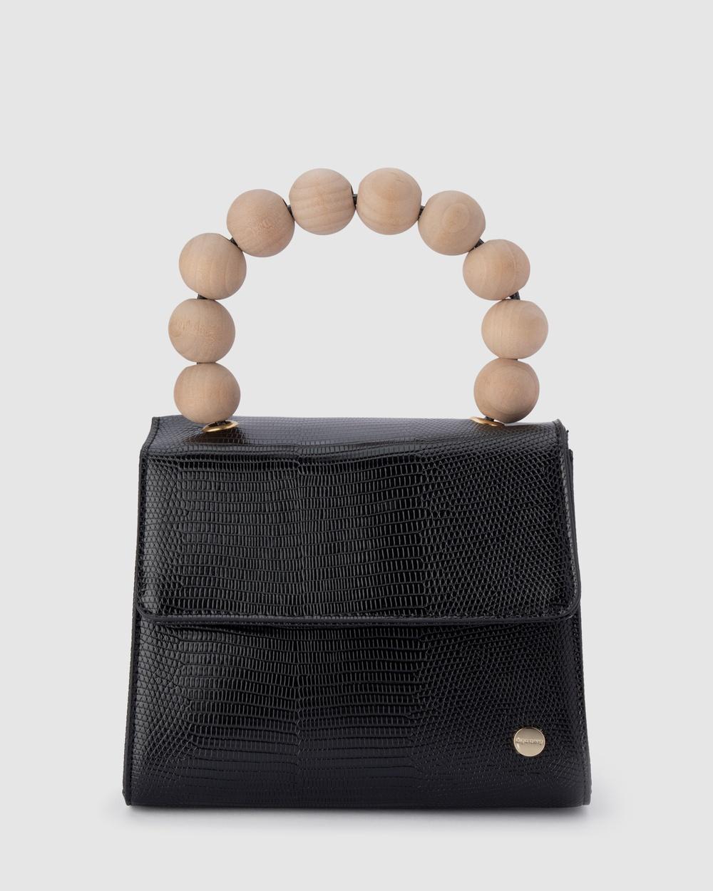 Olga Berg Caylee Wood Bead Handle Bag Handbags Black Handbags Australia