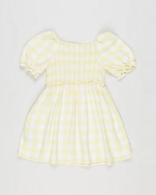 Cotton On Kids Lillie Short Sleeve Dress   Kids - Dresses (Lemon Drop Gingham)