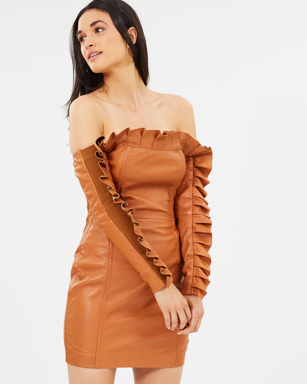 Asilio Sanction Leather Ruffle Dress Dresses Tan Sanction Leather Ruffle Dress