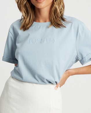 Tussah Tussah Classic Tee - T-Shirts & Singlets (Pale Blue & Blue Logo)