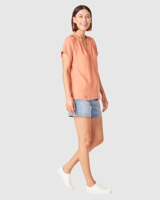 French Connection Cotton Crinkle Popover Top - Tops (BURNT ORANGE)