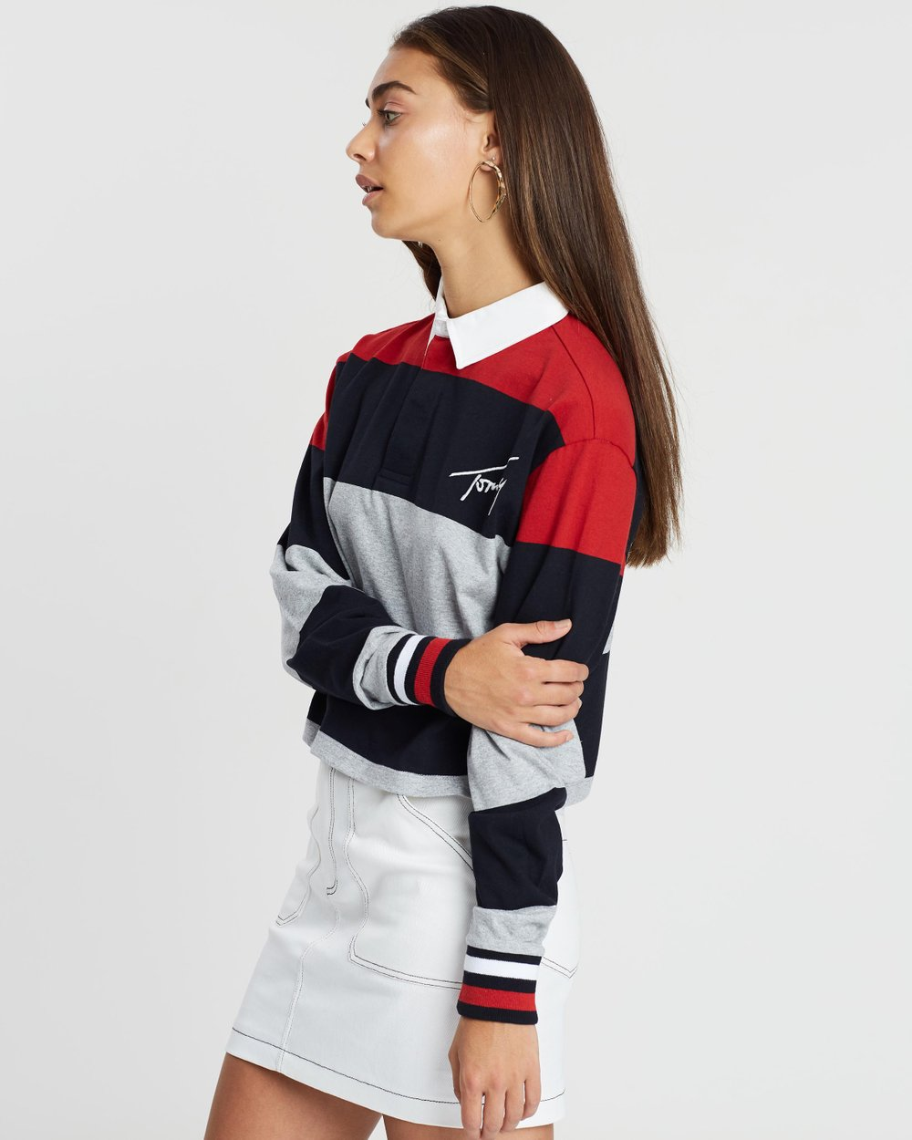 ea7ec4868eb4c Cropped Long Sleeve Polo by Tommy Jeans Online