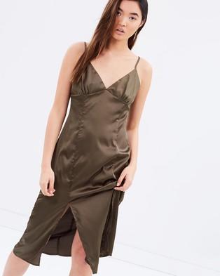 MINKPINK – Silky Slip Midi Dress – Dresses (Khaki)