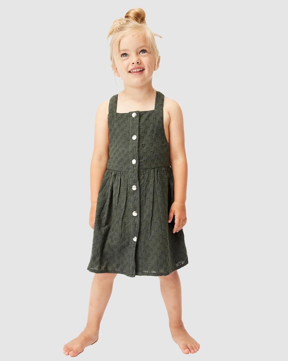Milky Broderie Dress Kids Dresses Hunter Green Australia
