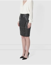 TORANNCE - Baroque Leather Pencil Skirt