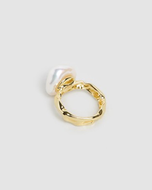 Bianc Rockpool Pearl Ring - Jewellery (Gold Plated Sterling Silver)