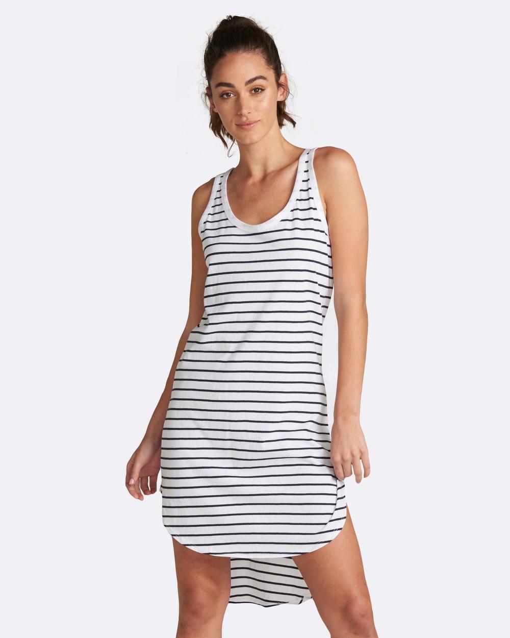jac + mooki Polly Stripe Dress Dresses White Polly Stripe Dress