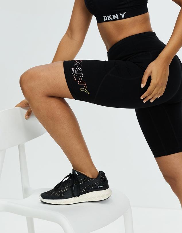 Women Ombre Logo High Waist Bike Shorts with Pockets