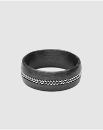 Nialaya Jewellery - Men's Carbon Fiber Ring with Chain Detail