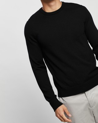 Calvin Klein Merino Wool Crew Neck Sweater - Jumpers & Cardigans (Black)