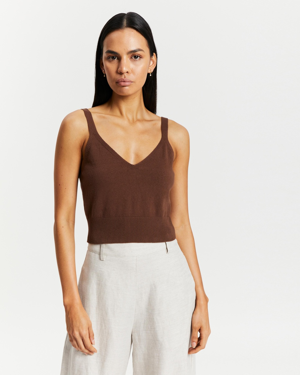 AERE Organic Cotton Cropped Knit Top tops Chocolate