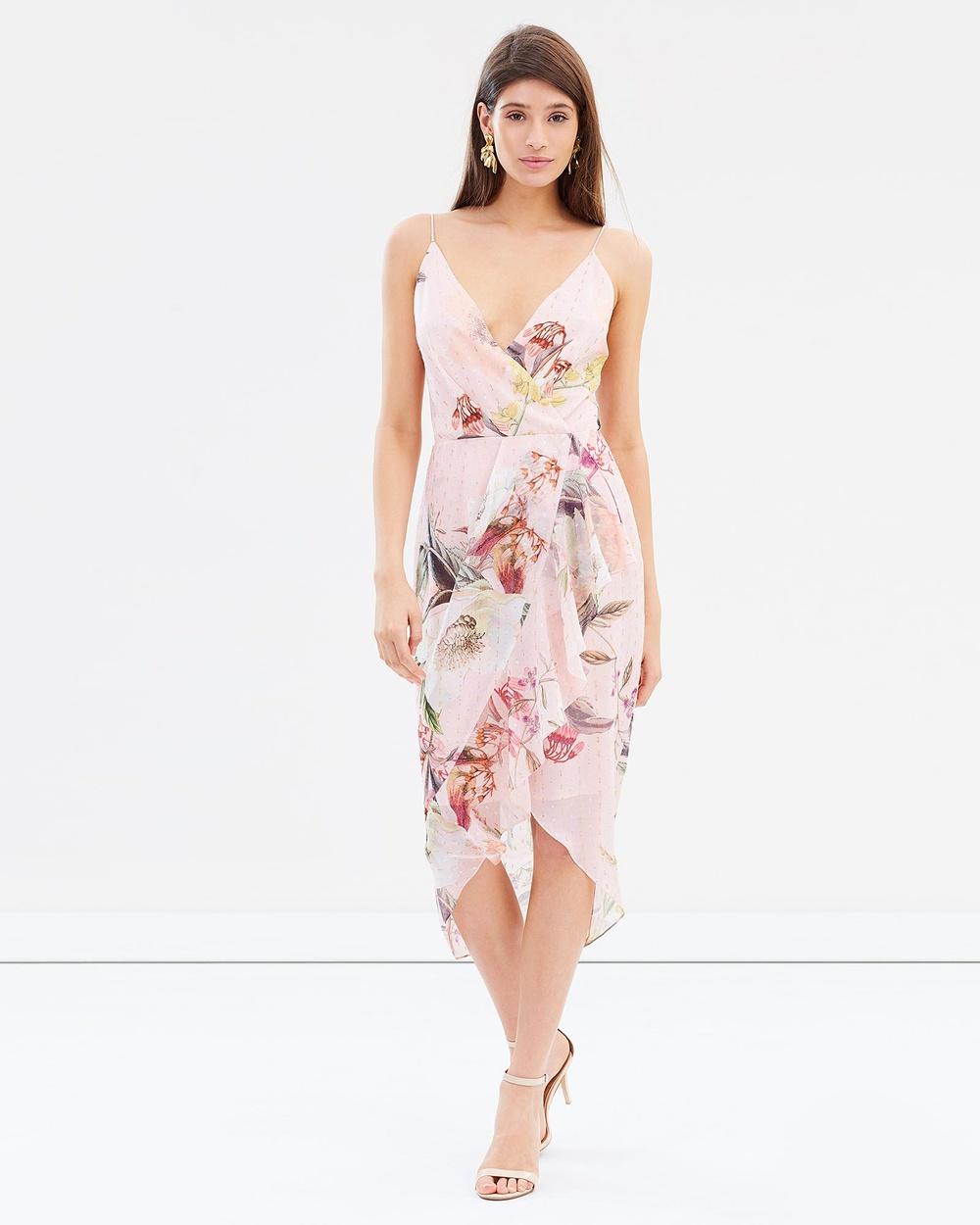 Cooper St Flora Facade Drape Dress Printed Dresses Print Flora Facade Drape Dress