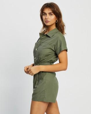Atmos&Here Sofia Linen Blend Playsuit - Jumpsuits & Playsuits (Khaki)