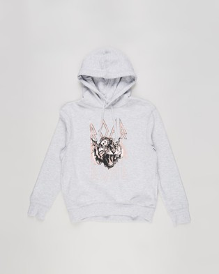 Decjuba Kids - Roar Tiger Hooded Sweat Teens Hoodies (Light Grey Marle)