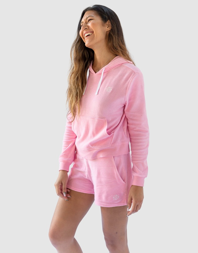 Women Andy Cohen Pink Terry Cropped Hoodie