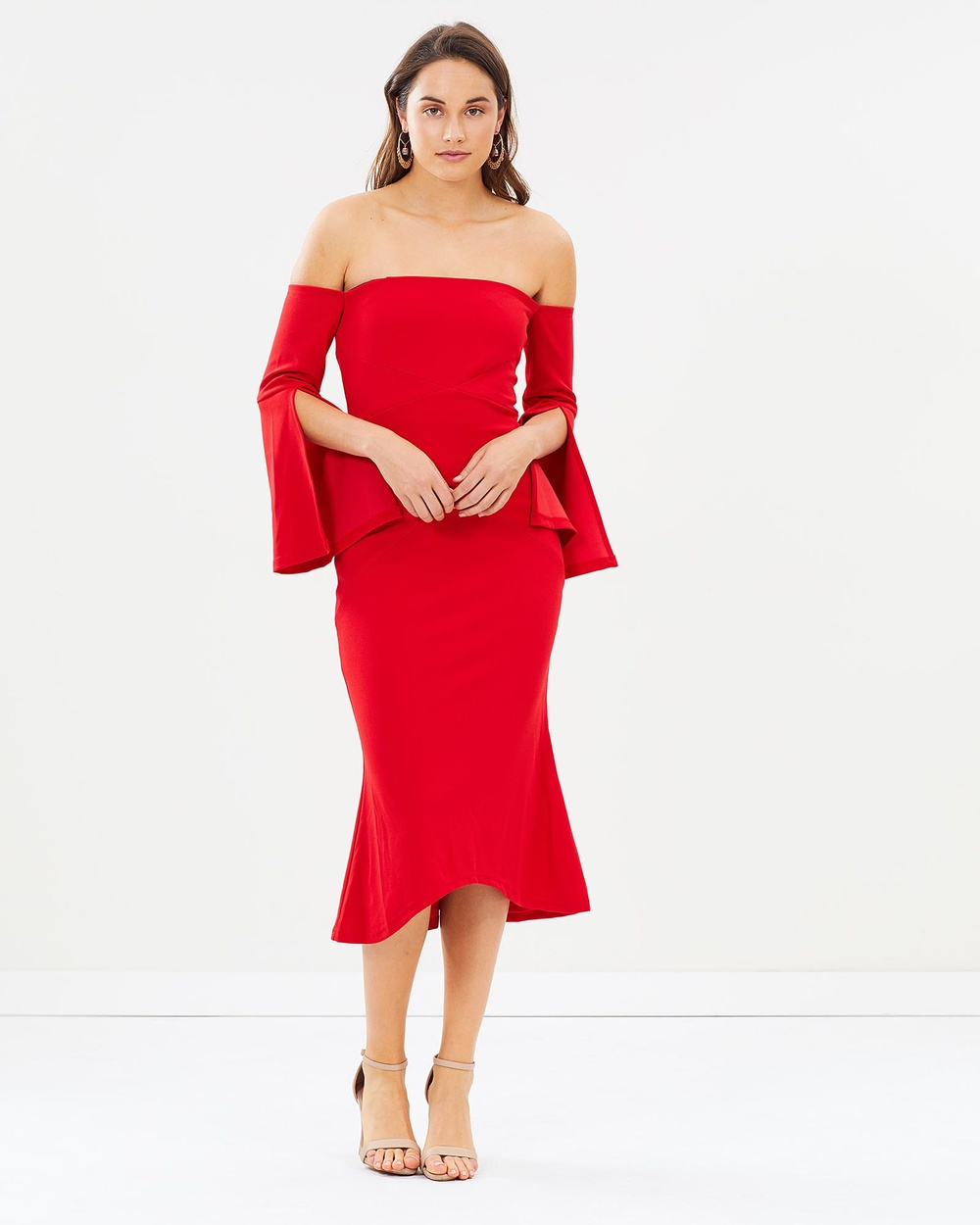 Lumier Faylinn Split Sleeve Fluted Midi Dress Dresses Red Faylinn Split Sleeve Fluted Midi Dress