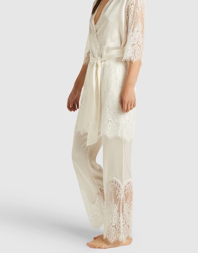 Women Blaise Silk Pants With Lace