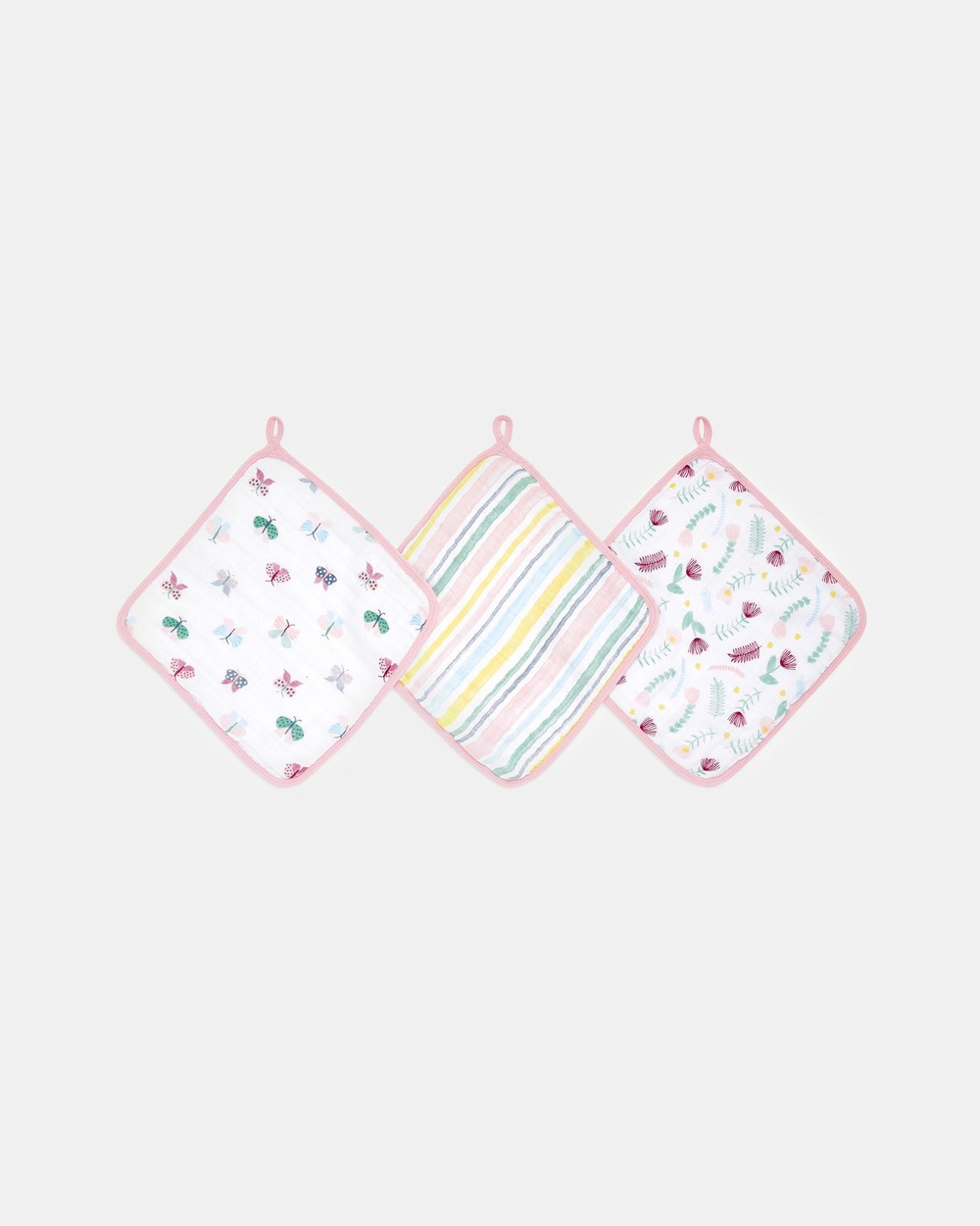 Aden & Anais 3 Pack Essentials Muslin Washcloths Towels Face Washers Floral 3-Pack