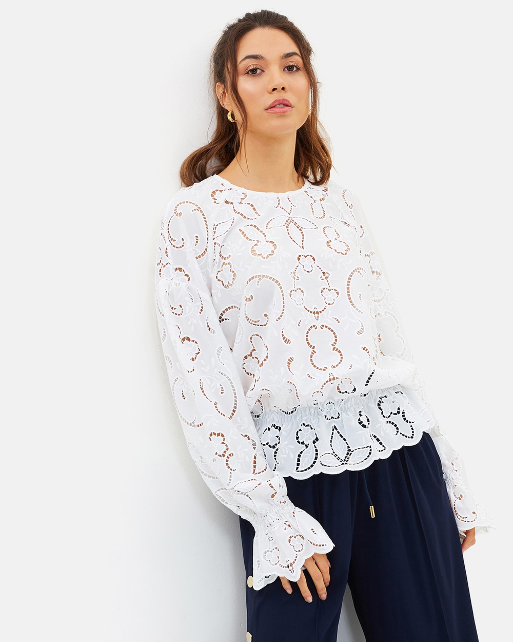 Perseverance Lily Cut Out Embroidered Crepe Blouse Tops Off White Lily Cut-Out Embroidered Crepe Blouse