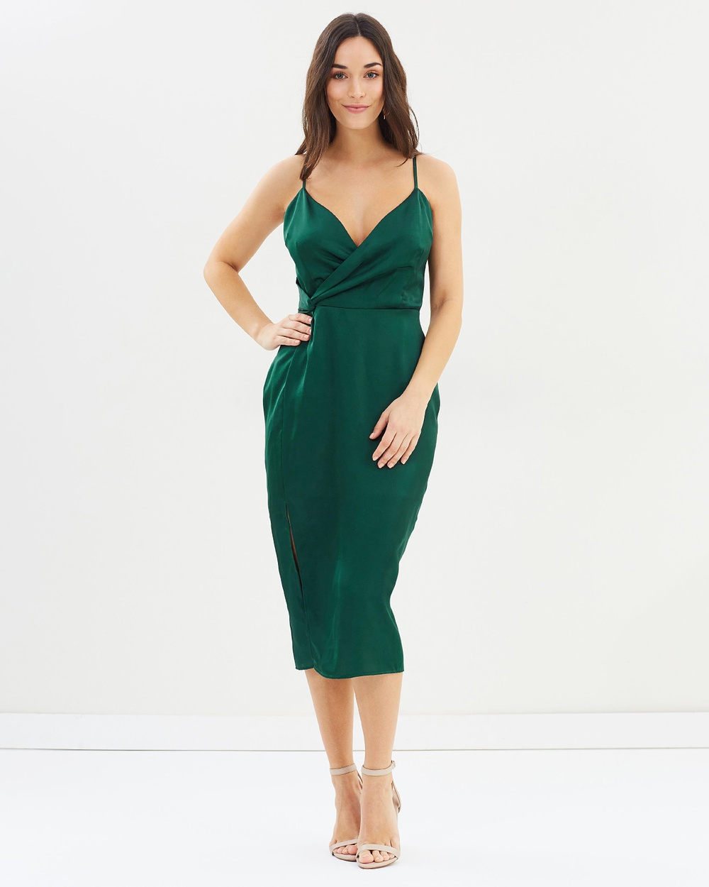 Cooper St Lana Side Twist Midi Dress Bridesmaid Dresses Evergreen Lana Side Twist Midi Dress