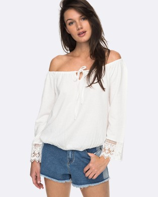 Roxy – Womens Retro Revival Off The Shoulder Long Sleeved Top Marshmellow