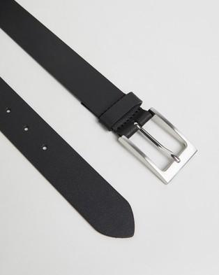 Double Oak Mills Split Leather 35mm Belt - Belts (Black)
