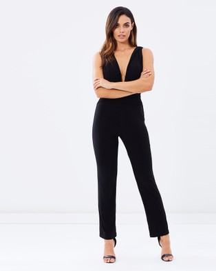 SKIVA – V Neck Jumpsuit – Jumpsuits & Playsuits Black