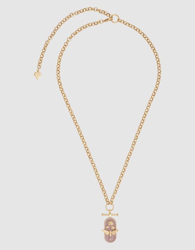 Women Flutter Mauve & Gold Necklace