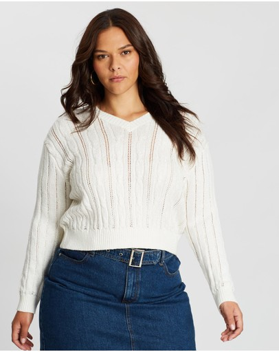 Cotton On Curve Cable Pullover Eggnog