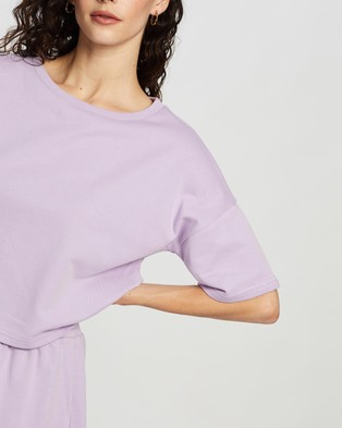 Atmos&Here Laura Short Sleeve Sweat Top - Sweats (Lilac)