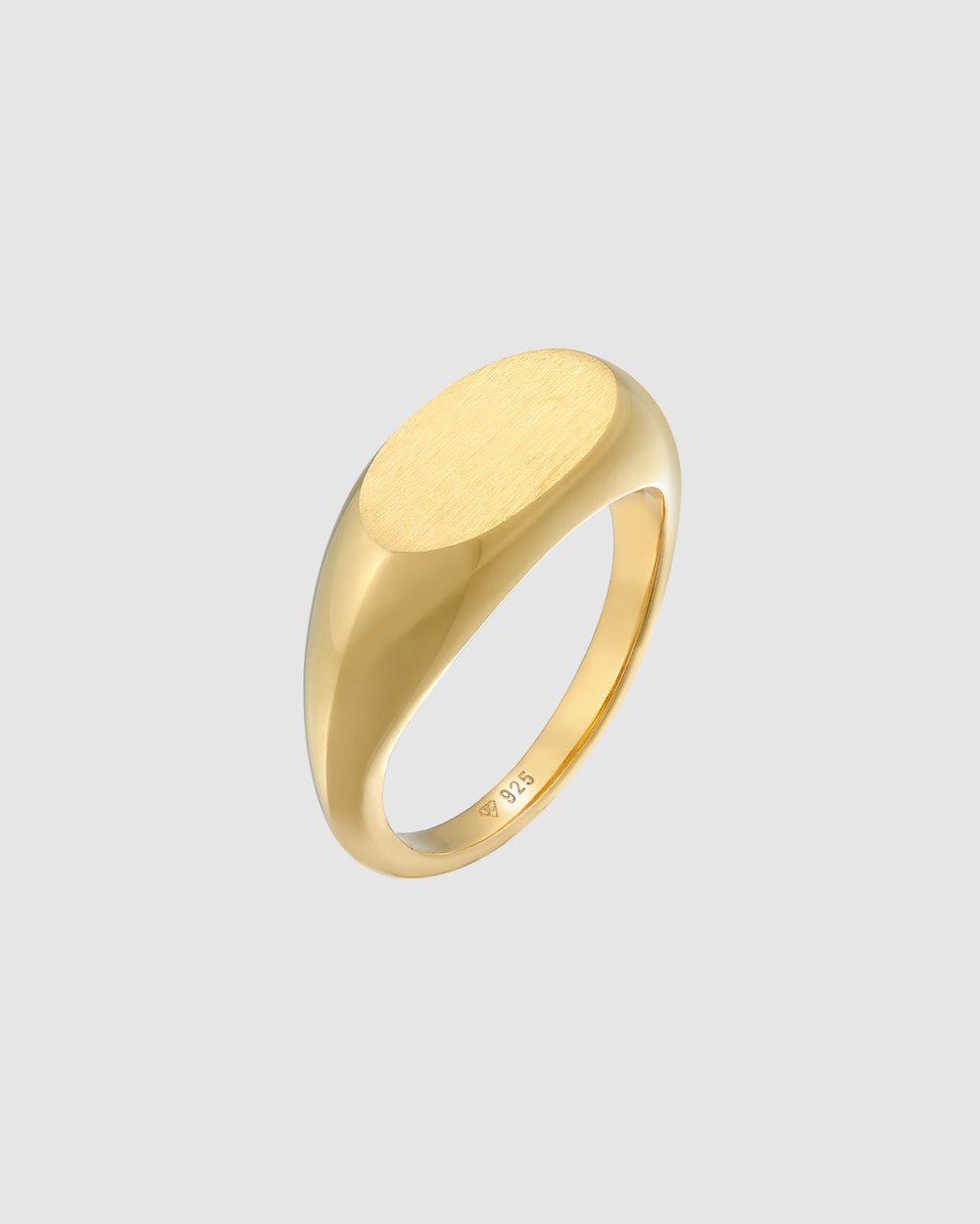Elli Jewelry Ring Signet Oval Basic Trend in 925 Sterling Silver Gold Plated Jewellery Gold