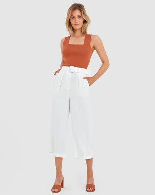 Forcast Jacey Belted Culottes - Pants (Ivory)