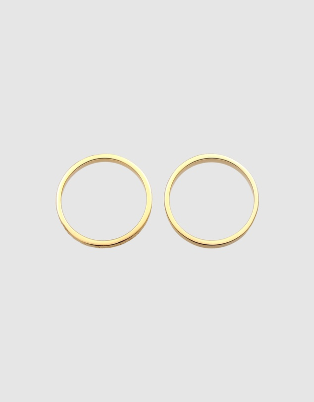 Women Ring 2 pcs Set Bandring Basic Look in 925 Sterling Silver Gold Plated