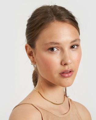 Arms Of Eve Triple Hoop Huggie Earrings Jewellery Gold