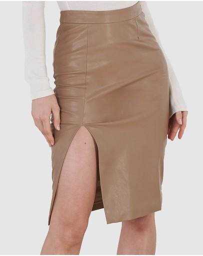 Amelius Cassie Vegan Leather Skirt Camel