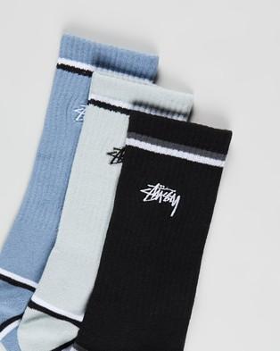 Stussy Stock Border Stripe Socks 3 Pack - Crew Socks (Multi)