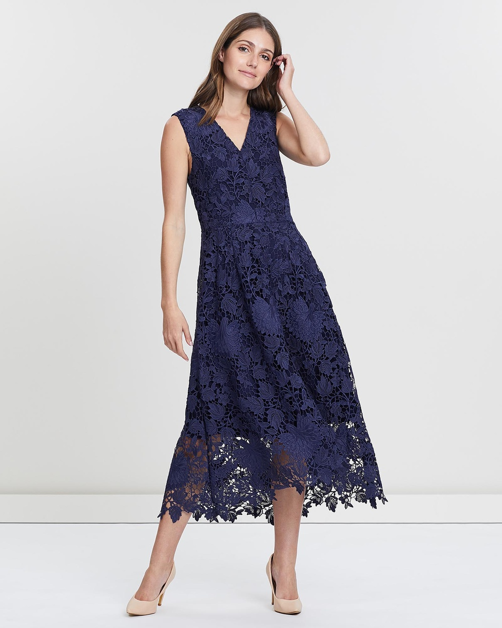 David Lawrence NAVY Sleeveless Lace Fit And Flare Dress