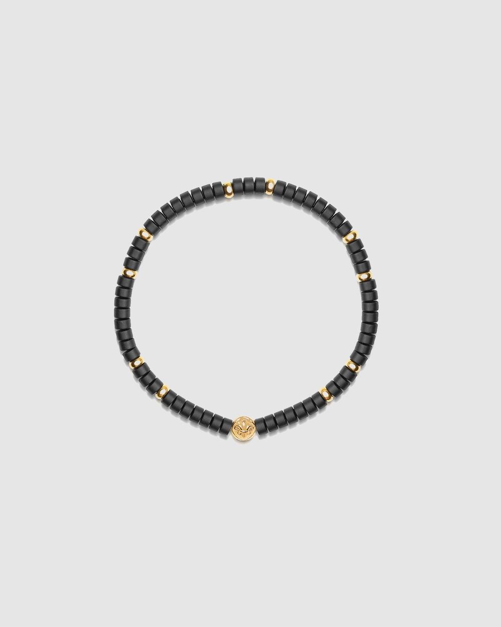 Nialaya Jewellery Wristband with Onyx and Gold Black