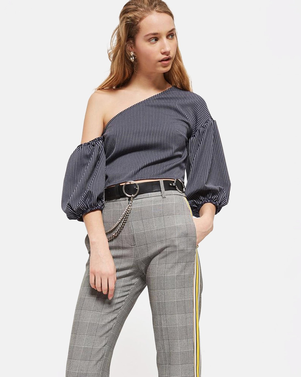 TOPSHOP Striped One Shoulder Top Cropped tops Navy Blue Striped One Shoulder Top
