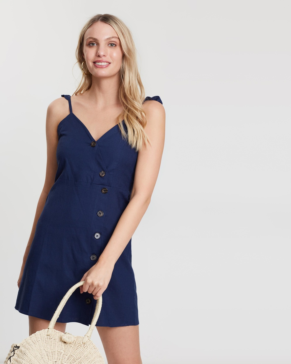 Living Doll Navy Jessie Button Dress