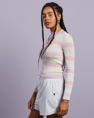 Cools Club - Knit Top Cropped tops (Oat Stripe)